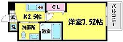 サムティ京橋Fluss 2階1Kの間取り