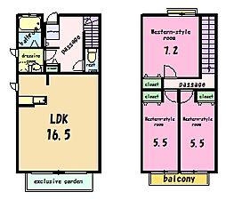[テラスハウス] 東京都町田市広袴町 の賃貸【/】の間取り
