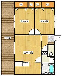 西鉄天神大牟田線 大溝駅 徒歩7分の賃貸アパート 1階2LDKの間取り