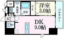 エステムコート神戸元町ヒルズ 13階1DKの間取り