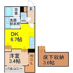 愛知県名古屋市熱田区六番2丁目の賃貸アパートの間取り