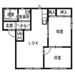 兵庫県たつの市揖西町小神の賃貸アパートの間取り