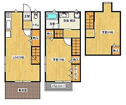 カルドーネ (3階建テラスハウス) 1階2LDKの間取り