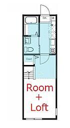 ハーミットクラブハウス横浜境之谷 2階1Kの間取り