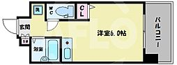 L-FLORA此花(エルフローラ此花) 2階ワンルームの間取り