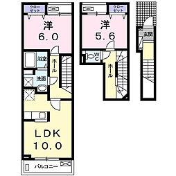 JR身延線 常永駅 徒歩23分の賃貸アパート 2階2LDKの間取り