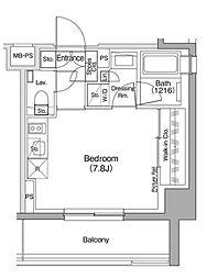 JR山手線 駒込駅 徒歩9分の賃貸マンション 3階ワンルームの間取り