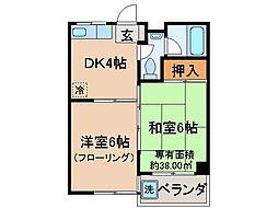 京都府京都市伏見区過書町の賃貸マンションの間取り
