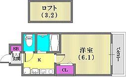 エステムコート神戸県庁前IIIフィエルテ[2階]の間取り