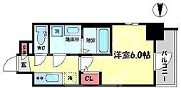 エスリード大阪梅田リュクス 7階1Kの間取り
