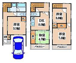 [一戸建] 大阪府東大阪市松原2丁目 の賃貸【/】の間取り