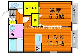 JR宇野線 備前西市駅 徒歩23分の賃貸アパート 2階1LDKの間取り