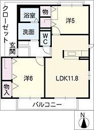 サン ステージ C棟[1階]の間取り