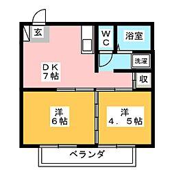 新西之宮B[2階]の間取り