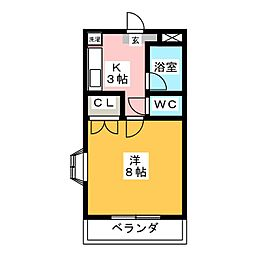 ハーヴェスト中平[3階]の間取り