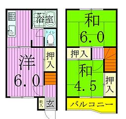 [タウンハウス] 千葉県松戸市新松戸5丁目 の賃貸【/】の間取り