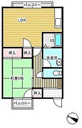 愛媛県今治市大新田町2丁目の賃貸アパートの間取り