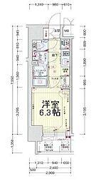 プレサンスOSAKA DOMECITY ワンダー 10階1Kの間取り