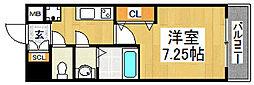 南海高野線 中百舌鳥駅 徒歩3分の賃貸マンション 7階1Kの間取り