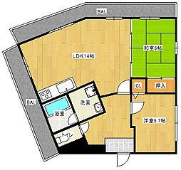Osaka Metro谷町線 守口駅 徒歩6分の賃貸マンション 4階2LDKの間取り