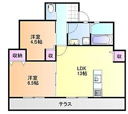JR山陽本線 庭瀬駅 徒歩15分の賃貸タウンハウス 1階2LDKの間取り