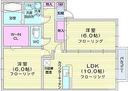 JR東北本線 陸前山王駅 徒歩5分の賃貸アパート 1階2LDKの間取り