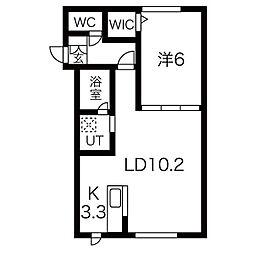 札幌市営南北線 中島公園駅 徒歩13分の賃貸アパート 1階1LDKの間取り
