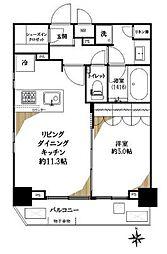 東急東横線 渋谷駅 徒歩7分の賃貸マンション 14階1LDKの間取り