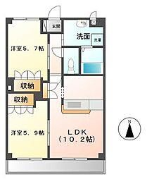 神奈川県厚木市下依知2丁目の賃貸マンションの間取り