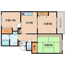 奈良県香芝市逢坂2丁目の賃貸マンションの間取り