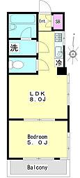 第2ラサハウス 2階1LDKの間取り