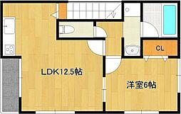 仮)梅満町アパート 2階1LDKの間取り