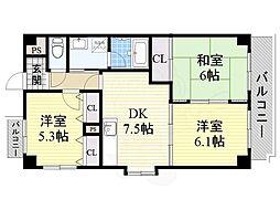 阪急京都本線 上新庄駅 徒歩8分の賃貸マンション 6階3DKの間取り