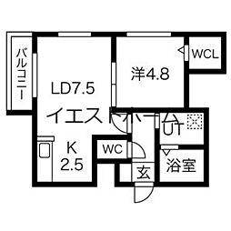 MODENA・TOYOHIRA 2階1LDKの間取り