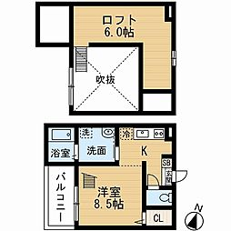 愛知県名古屋市中村区新富町4丁目の賃貸アパートの間取り