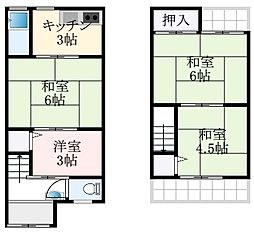 南海高野線 萩原天神駅 徒歩15分の賃貸一戸建て 1階4DKの間取り