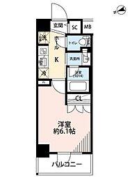 京急本線 立会川駅 徒歩3分の賃貸マンション 2階1Kの間取り