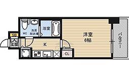 エスリード大阪城 9階1Kの間取り