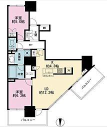 東京臨海高速鉄道りんかい線 品川シーサイド駅 徒歩3分の賃貸マンション 27階2LDKの間取り