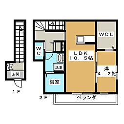 京都府京都市北区紫野花ノ坊町の賃貸アパートの間取り