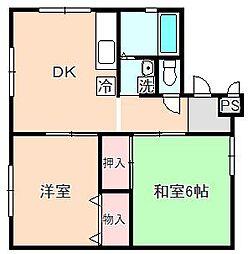 千里園マンション[A102号室]の間取り