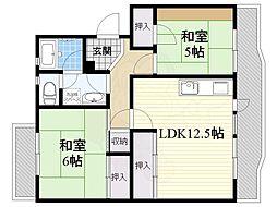 公団江坂住宅6号棟 4階2LDKの間取り