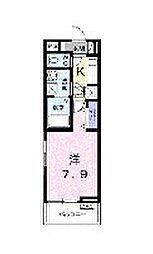 小田急小田原線 百合ヶ丘駅 徒歩8分の賃貸アパート 1階1Kの間取り