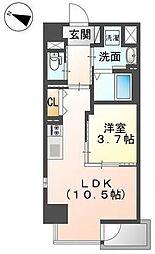 岡山電気軌道清輝橋線 清輝橋駅 徒歩5分の賃貸マンション 8階1LDKの間取り