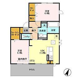 仮)D−roomセントラルパークB[201号室]の間取り