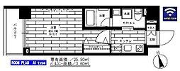 ステージグランデ上野 5階1Kの間取り