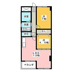 コーポヤマギワ[3階]の間取り