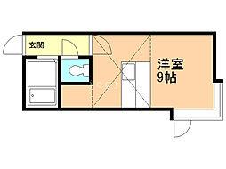 サンテラス東札幌 2階1Kの間取り