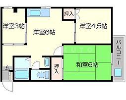 メゾン淀川 2階3DKの間取り