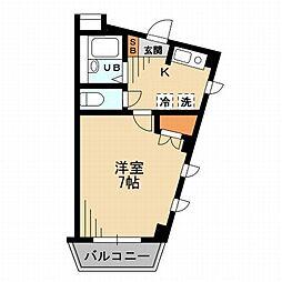 東京都新宿区払方町の賃貸マンションの間取り